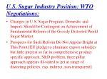 u s sugar industry position wto negotiations