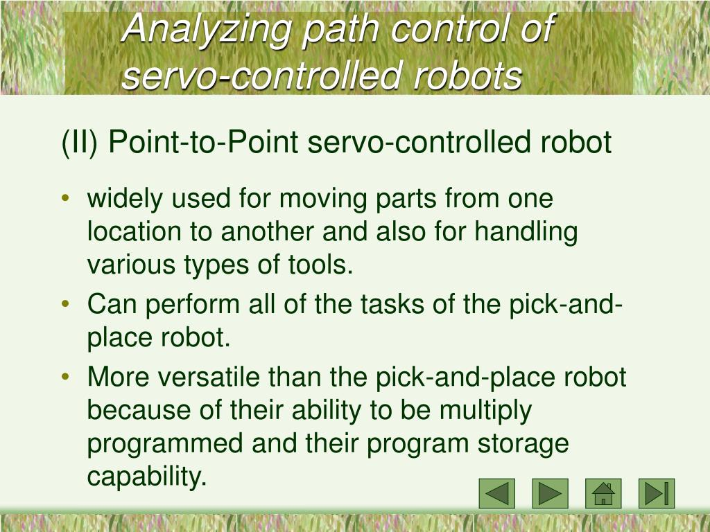 Analyzing path control of servo-controlled robots