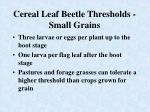 cereal leaf beetle thresholds small grains