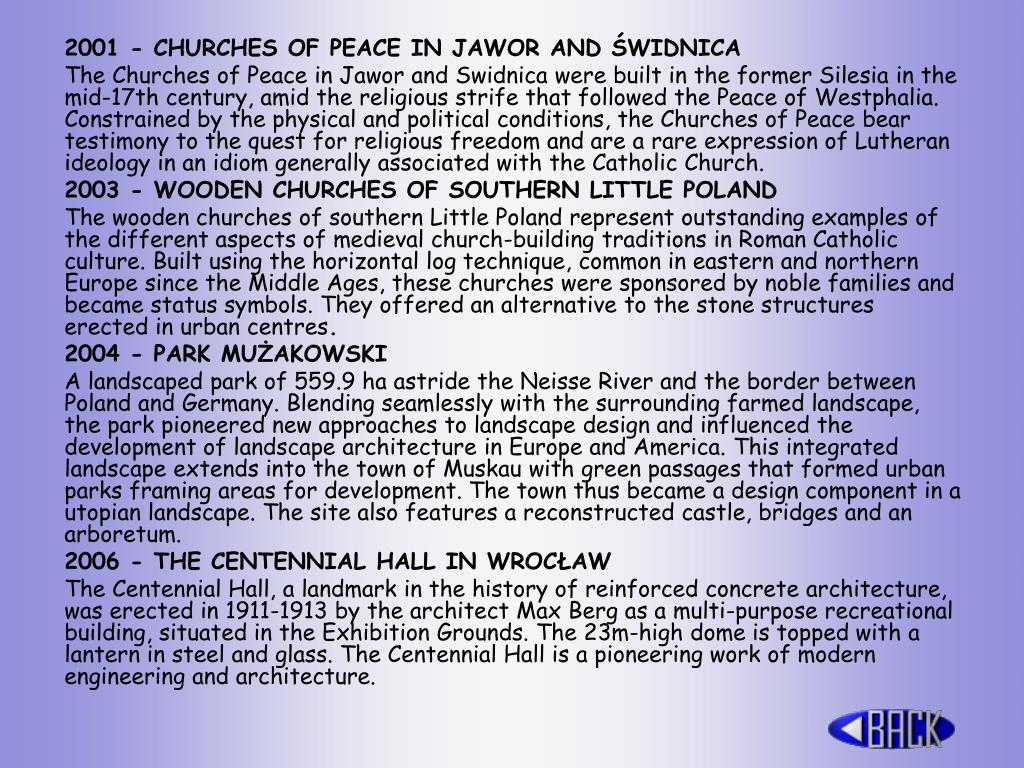 2001 - CHURCHES OF PEACE IN JAWOR AND ŚWIDNICA