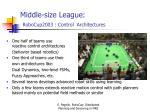 middle size league robocup2003 control architectures