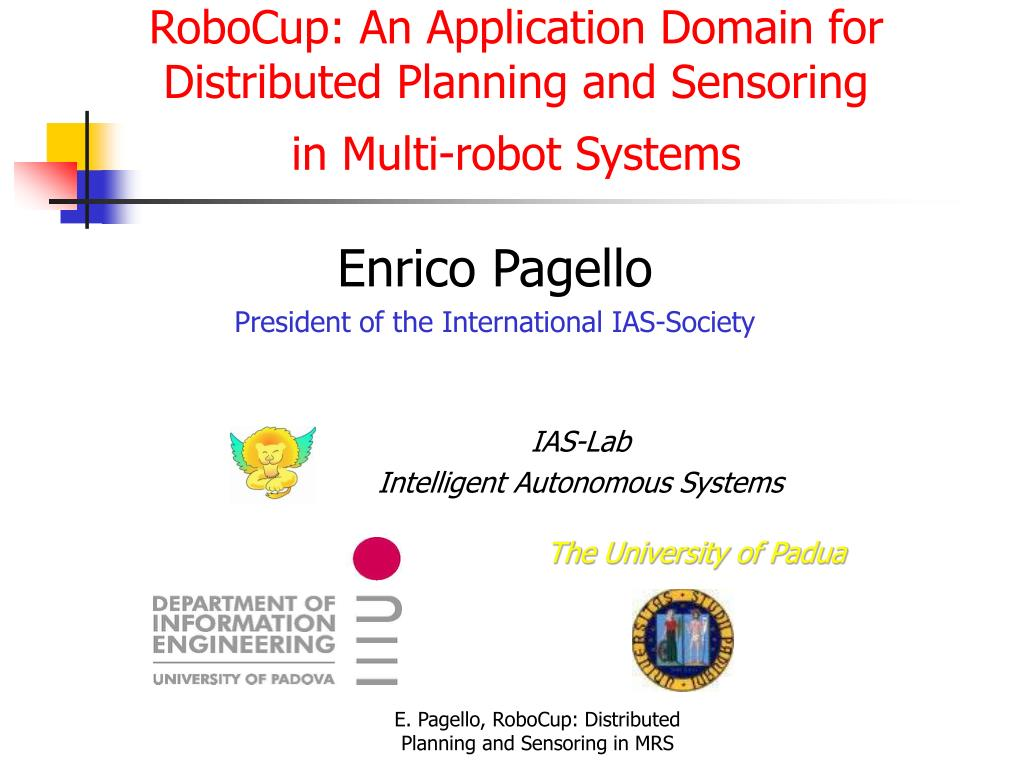 robocup an application domain for distributed planning and sensoring in multi robot systems l.