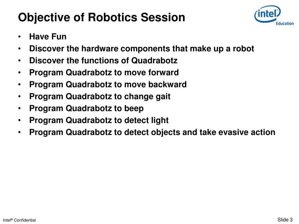 Objective of Robotics Session