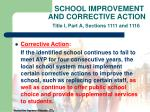 school improvement and corrective action title i part a sections 1111 and 111622