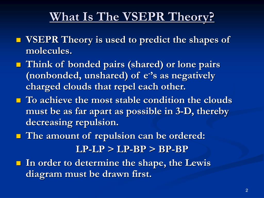 Ppt - Vsepr Theory  Valence Shell Electron Pair Repulsion Theory  Powerpoint Presentation