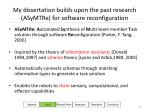 my dissertation builds upon the past research asymtre for software reconfiguration
