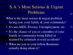 s a s most serious urgent problems