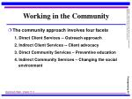 working in the community