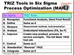 triz tools in six sigma process optimization maic