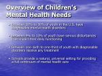 overview of children s mental health needs