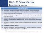 fdic s 23 primary service categories slide 3 of 4