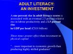adult literacy an investment