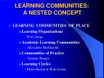learning communities a nested concept