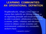learning communities an operational definition