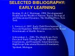 selected bibliography early learning