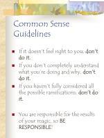 common sense guidelines