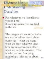 relationship of the divine to us understanding ourselves