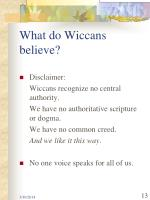 what do wiccans believe