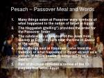 pesach passover meal and words