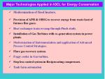 major technologies applied in iocl for energy conservation