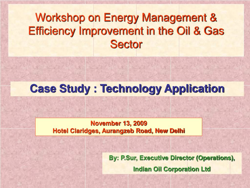 workshop on energy management efficiency improvement in the oil gas sector l.