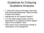 guidelines for critiquing qualitative analyses