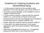 guidelines for critiquing qualitative and mixed method desig