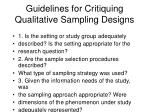 guidelines for critiquing qualitative sampling designs