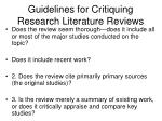 guidelines for critiquing research literature reviews