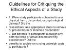 guidelines for critiquing the ethical aspects of a study