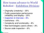 how teams advance to world robofest exhibition division