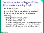 important notes to regional host sites to setup playing fields