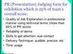 pr presentation judging form for exhibition which is 25 of team s overall score