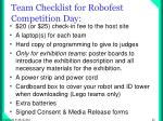 team checklist for robofest competition day