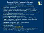 doctoral phd program in nursing entrance requirements web link