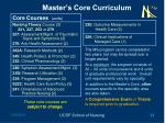 master s core curriculum