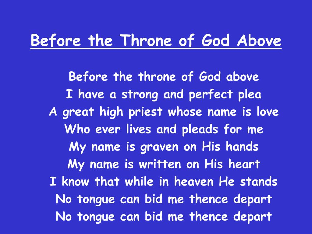 before the throne of god above l.