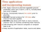 time applications and incorporating manure