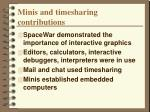 minis and timesharing contributions