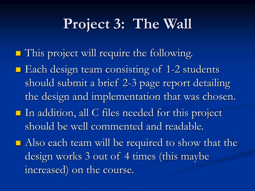 Project 3:  The Wall