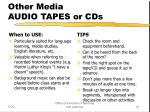 other media audio tapes or cds