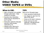 other media video tapes or dvds
