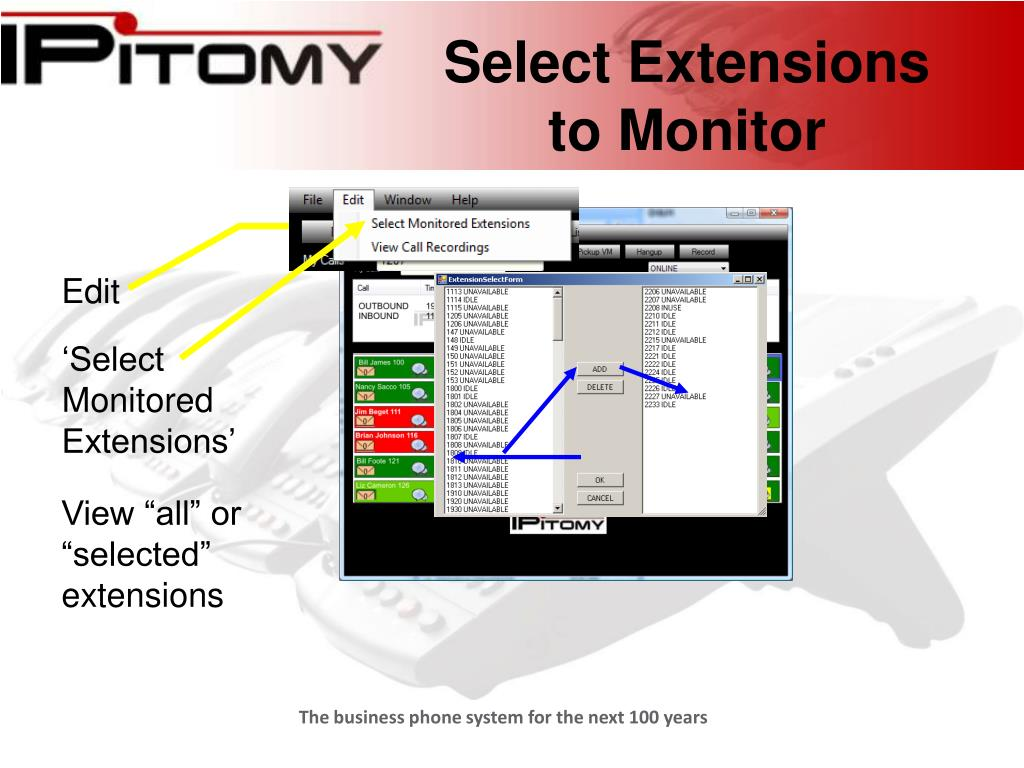 Select Extensions to Monitor