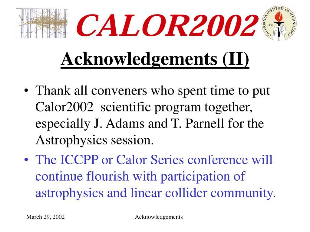Acknowledgements (II)