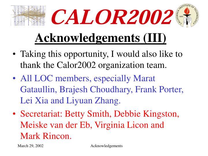 Acknowledgements iii