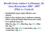 results from andrew lamanque de anza researcher 2005 2007 pilot vs control
