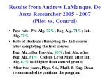 results from andrew lamanque de anza researcher 2005 2007 pilot vs control10