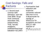 cost savings falls and fractures