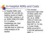 in hospital adrs and costs