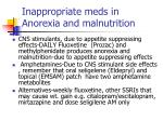 inappropriate meds in anorexia and malnutrition